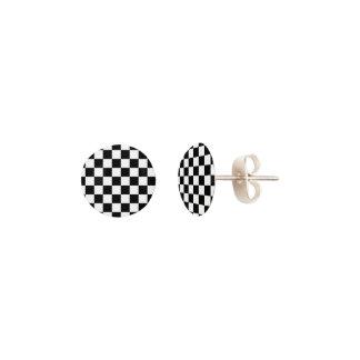 Classic Checkered Racing Flag Check Black White Earrings