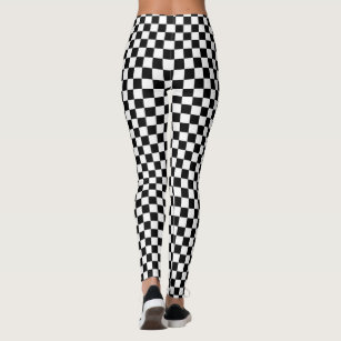 8babe1ceea613 Classic Checkered Racing Flag Check Black White Leggings