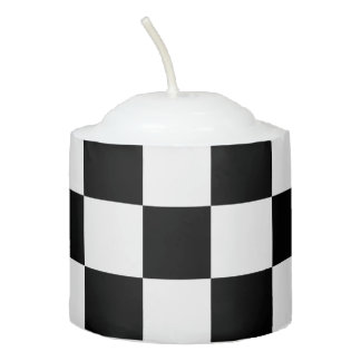 Classic Checkered Racing Flag Check Black White Votive Candle