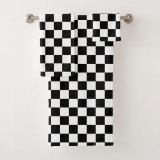 Classic Checkered Racing Sport Check Black White Bath Towel Set