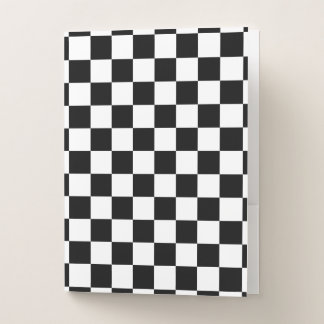 Classic Checkered Racing Sport Check Black White Pocket Folder