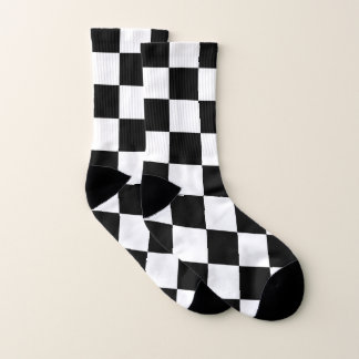Classic Checkered Racing Sport Check Black White Socks