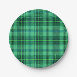 Classic Cheerful Plaid   green Paper Plate