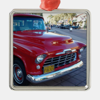 Classic Cherry Red Chevy Pick-Up Truck at Car Show Metal Ornament