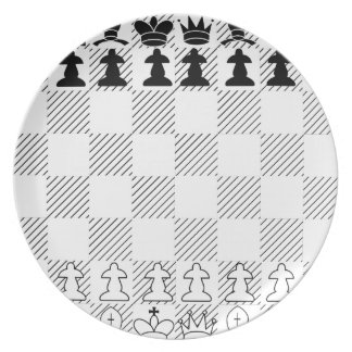 Classic chess board dinner plate