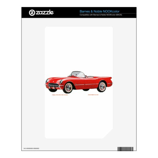 Classic_Chevrolet_Red_Corvette Calcomanía Para El NOOK Color