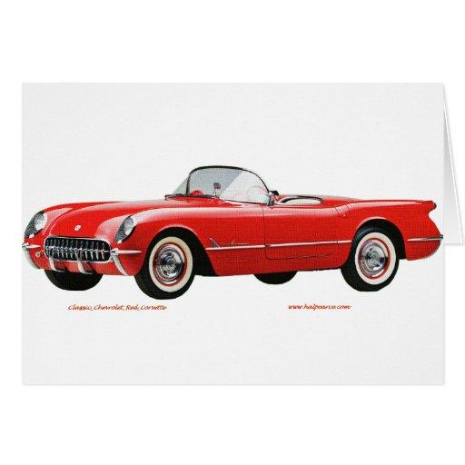 Classic_Chevrolet_Red_Corvette Tarjeta De Felicitación