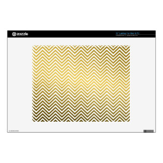 Classic Chevron Gold Metal Pattern Decals For Laptops