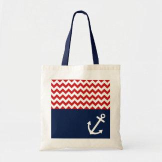 Classic Chevron Nautical Love Budget Tote Bag