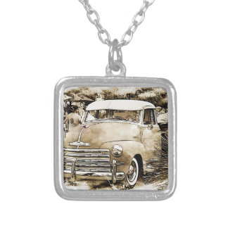 Classic Chevy Chevrolet Truck Silver Plated Necklace