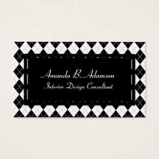 Classic, Chic Black and White Argyle Plaid Pattern Business Card