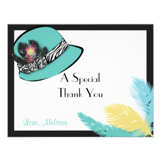 Classic Chic Hat with Feathers Note Card 2 Personalized Invitation