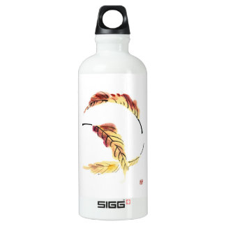 Classic chinese vintage sumi-e ink leaf painting aluminum water bottle