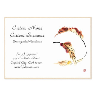 Classic chinese vintage sumi-e ink leaf painting business cards