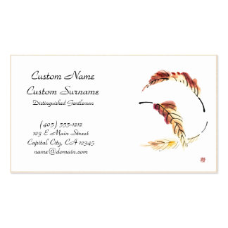 Classic chinese vintage sumi-e ink leaf painting business card