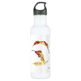 Classic chinese vintage sumi-e ink leaf painting stainless steel water bottle