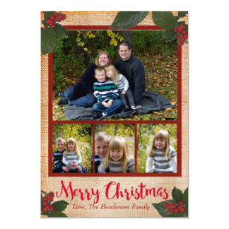 Classic Christmas Berries 5x7 Christmas Photo Card