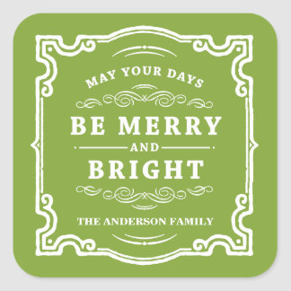 Classic Christmas   Holiday Gift Tag Labels Square Sticker