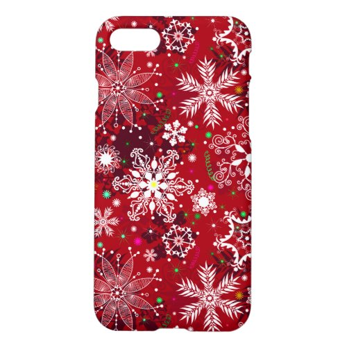 Classic Christmas Holiday Snowflake Pattern iPhone 87 Case