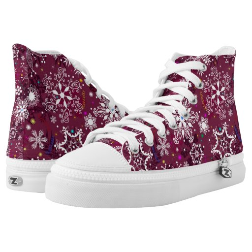 Classic Christmas Holiday Snowflake Pattern Printed Shoes ...
