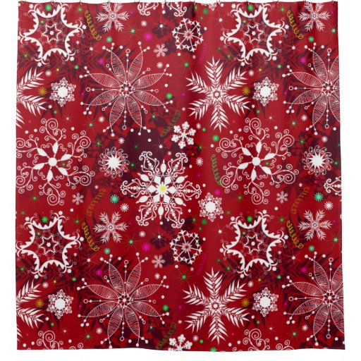 Classic Christmas Holiday Snowflake Pattern Shower Curtain