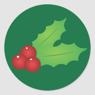 Classic Christmas Holly Classic Round Sticker