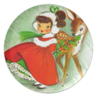 Classic Christmas Little Girl With Reindeer Melamine Plate