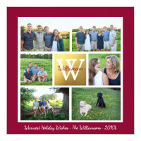 Classic Christmas Monogram Holiday Photo Collage Card