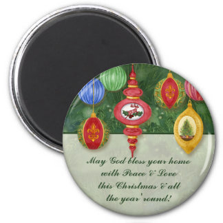 Classic Christmas Ornament Message Magnet