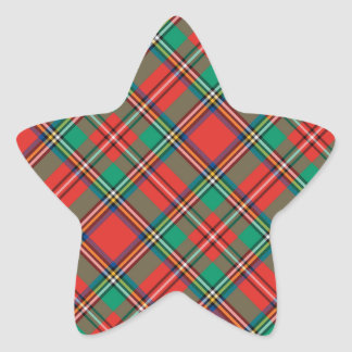 Classic Christmas Plaid Star Sticker