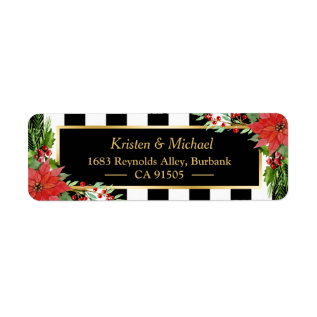 Classic Christmas Poinsettia Floral Gold Frame Label at Zazzle