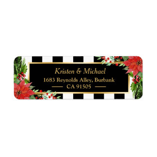 Classic Christmas Poinsettia Floral Gold Frame Label
