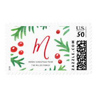 Classic Christmas Postage Stamps | Custom Monogram