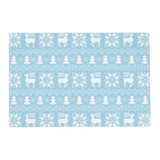 Classic Christmas Sweater Inspired Blue Pattern Placemat