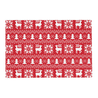 Classic Christmas Sweater Inspired Red Pattern Placemat