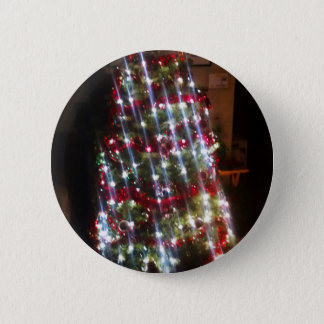 Classic Christmas Tree with Bright White Lights Pinback Button