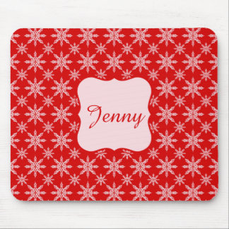 Classic Christmas white snowflakes on red backgrou Mouse Pad