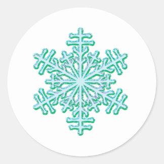 Classic Christmas Winter Snowflake Classic Round Sticker