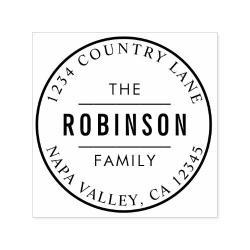 Classic Circle Logo Family Name Return Address Self_inking Stamp
