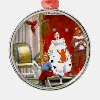 CLASSIC CIRCUS SCENE ROUND METAL CHRISTMAS ORNAMENT