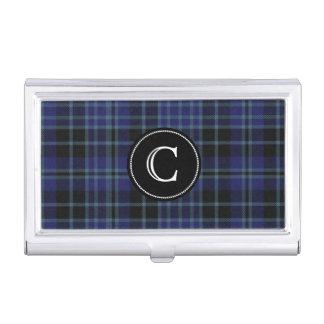 Classic Clan Clark Tartan Plaid Monogram Business Card Case