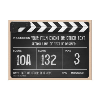 Classic Clapperboard Artwork (With Your Text) Canvas Print