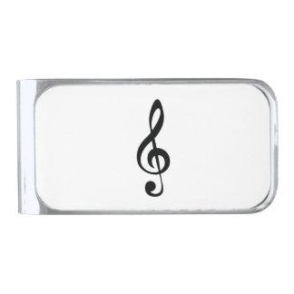 Classic clef silver finish money clip