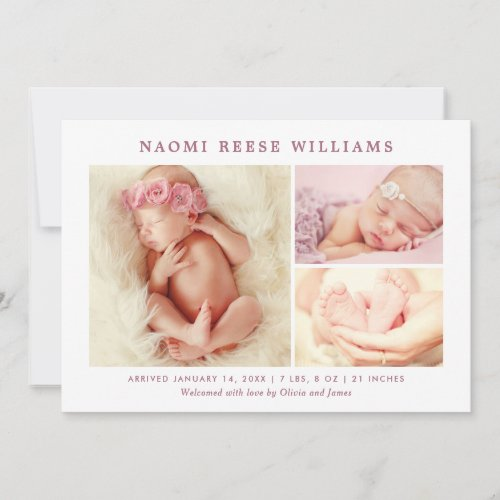 Classic Collage  Baby Girl Rosy Pink Photo Birth Announcement