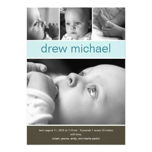 Classic Collage Baby Photo Birth Announcement