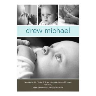 Classic Collage Baby Photo Birth Announcement Custom Invites