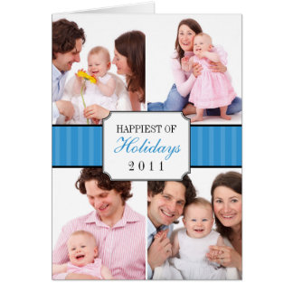 Classic collage blue striped band Christmas photo Card