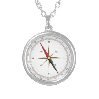 Classic compass-look silver plated necklace