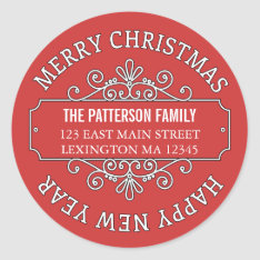 Classic Contemporary Merry Christmas Label at Zazzle