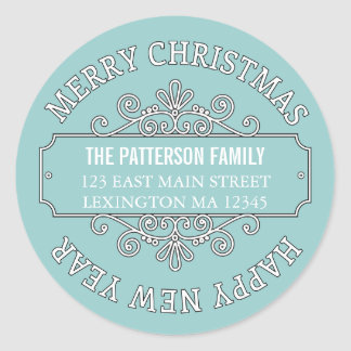 Classic Contemporary Merry Christmas Label Stickers
